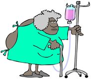 Den gamla kvinnan som bär en sjukhuskappa, öppnar i baksidan Arkivfoton