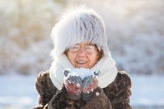 Den gamla kvinnan som går på vintern, parkerar royaltyfria foton