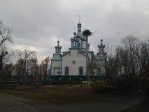 Den gamla kyrkan, härliga ställen i Ukraina, arkitektur Arkivbild