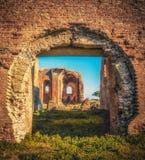 Den gamla kyrkan i arkeologiskt parkerar `-Scolacium `, royaltyfri bild