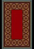 Den gamla mattan med den färgrika prydnaden på gränsen av och rött på mitt- Royaltyfria Foton