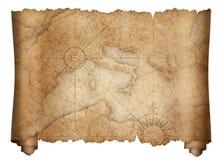 Den gamla medeltida medelhavs- översiktssnirkeln isolerade royaltyfri illustrationer