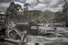 Den gamla minetownbilen shoppar Royaltyfri Bild