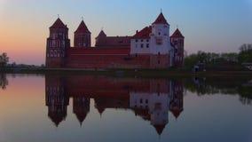 Den gamla Mir-slotten, April skymning Mir Vitryssland arkivfilmer