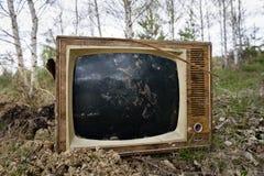 Den gamla motsvarigheten kasserade televisionuppsättningen i skogen Arkivfoton