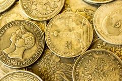 Den gamla ryska antikviteten försilvrar mynt arkivfoton