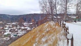 Den gamla ryska staden av Ples på Volgaet River Rysk vinter Arkivfoto