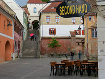 Den gamla Sibiuen, Rumänien arkivfoto