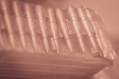 Den gamla sovjet RPD skjuter med kulspruta kulbältet RPD (Ruchnoy Pulemyot D arkivfoton