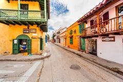 Den gamla staden av Cartagena med dess unika arkitektur Arkivfoto