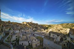 Den gamla staden av Matera i sydliga Italien Arkivfoton