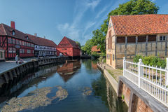 Den gamla staden i Århus, Danmark Arkivfoton
