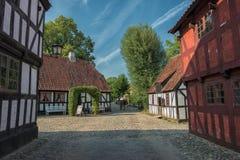 Den gamla staden i Århus, Danmark Arkivfoto