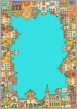 Den gamla staden med en variation av hus Royaltyfria Bilder