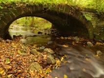 Den gamla steniga bron ovanför ström Vatten av bäcken mycket av färgrika sidor, sidor på grus, blått suddigt vatten kör Royaltyfri Fotografi