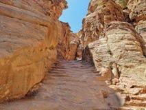Den gamla stentrappan som upp till leder kloster Al Dayr Petra royaltyfri foto