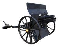 Den gamla svarta kanonen isolerade vitt bakgrundsbruk för forntida battl Fotografering för Bildbyråer
