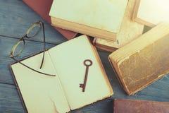 Den gamla tangenten, exponeringsglas och bunten av antikviteten bokar på det blåa träskrivbordet arkivbilder