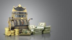 Den gamla tappningkassaapparaten med pengar och 3d framför på grå backg Royaltyfri Fotografi