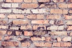 Den gamla tegelstenväggen, gammal textur av den röda stenen blockerar closeupen Fotografering för Bildbyråer