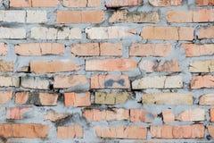 Den gamla tegelstenväggen, gammal textur av den röda stenen blockerar closeupen Royaltyfri Fotografi