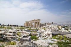 Den gamla templet av Athena i Aten Arkivbilder