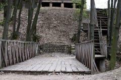 Den gamla träbron parkerar in Royaltyfria Bilder