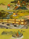 Den gamla traditionella buddistiska målningen på väggen Arkivfoton