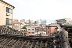 Den gamla traditionella byn i Seoul Arkivfoton