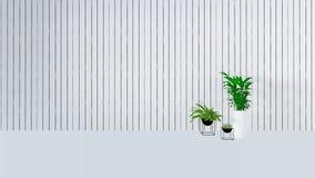 Den gamla väggdekoren med den gröna växten i vase-3D framför Royaltyfri Bild