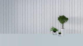 Den gamla väggdekoren med den gröna växten i vase-3D framför Arkivbilder
