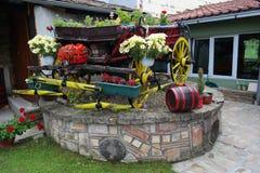 Den gamla vagnen med blommor, Serbien royaltyfria foton