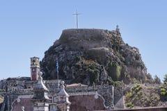 Den gamla Venetian fästningen i den Korfu staden på den grekiska ön av Korfu royaltyfri foto