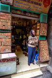 Den gamla vietnamesiska försäljaren i dörröppningen av henne shoppar Arkivfoton
