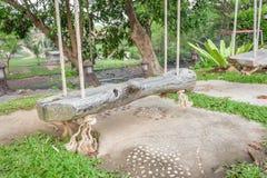 Den gamla wood gungaplatsen har den vita naturen för repet i det trädgårds- trädet Arkivbild
