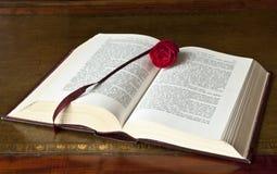 den gammala boken öppnar rose Arkivbild