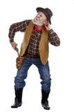 Den gammala cowboyen tecknar hans tryckspruta och lyssnar royaltyfri bild