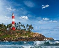 Fyr och hav. Kerala Indien Royaltyfria Foton
