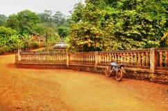 Den gammala motorcykeln landskap Royaltyfria Foton