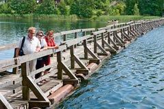 Den gammala pontoonen överbryggar Fotografering för Bildbyråer