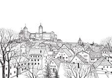 Den gammala staden beskådar Medeltida europeiskt slottlandskap royaltyfri illustrationer