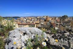 Den gammala townen av Corfu Arkivbilder