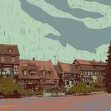 Den gammala townen beskådar stock illustrationer