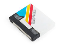 Den gammala VHS-videokassetten tejpar med den tomma etiketten Arkivbild
