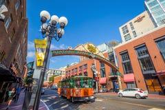 Den Gaslamp fjärdedelen i San Diego, Kalifornien Royaltyfri Foto