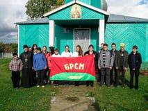 Den gemensamma handlingen av den vitryska unionen av ungdom och prästerna av den ortodoxa kyrkan i den Gomel regionen Arkivbilder