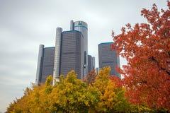 Den General Motors renässansmitten i Detroit Michigan Arkivfoton