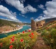 den genoese fästningen fördärvar Arkivbilder