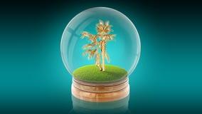 Den genomskinliga sfärbollen med guld- gömma i handflatan inom framförande 3d Royaltyfri Fotografi