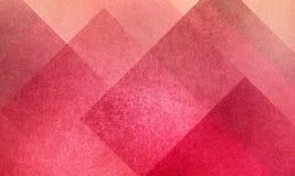 Den geometriska abstrakta rosa färg- och persikabakgrundsmodellen planlägger med diamanten, och kvarteret kvadrerar i lager med t